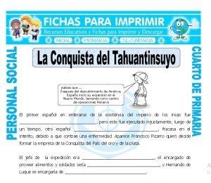 ficha de La Conquista del Tahuantinsuyo para Cuarto de Primaria