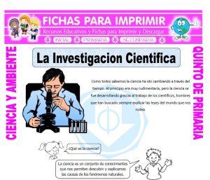 Ficha de La Investigacion Cientifica para Quinto de Primaria