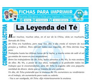Ficha de La Leyenda del Te para Cuarto de Primaria