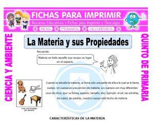 Ficha de La Materia y sus Propiedades para Quinto de Primaria