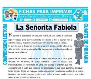 Ficha de La Señorita Fabiola para Cuarto de Primaria