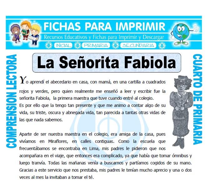 La Señorita Fabiola para Cuarto de Primaria - Fichas para Imprimir