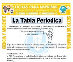 Ficha de La Tabla Periodica para Sexto de Primaria