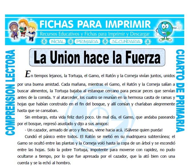 Ficha de La Union hace la Fuerza para Cuarto de Primaria