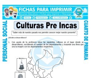 ficha de Las Culturas del Peru para Cuarto de Primaria