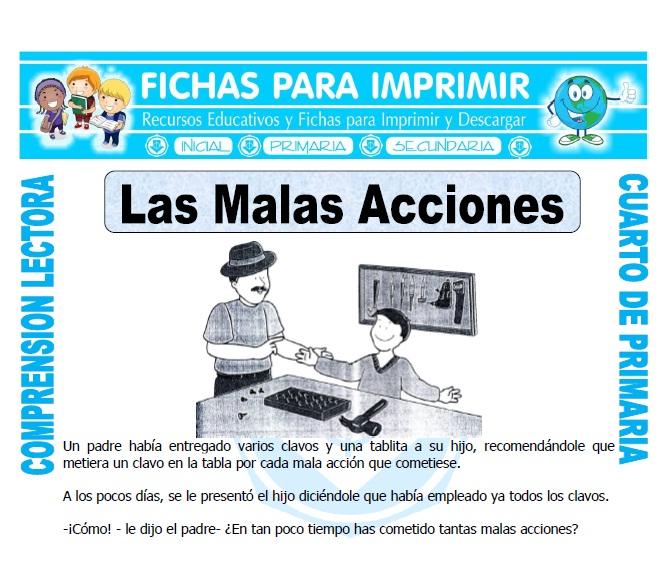 Ficha de Las Malas Acciones para Cuarto de Primaria