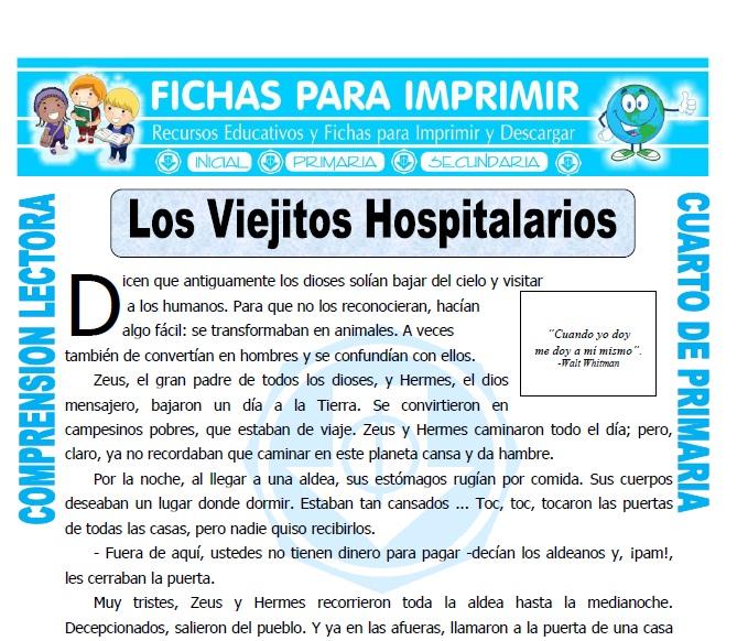 Ficha de Los Viejitos Hospitalarios para Cuarto de Primaria