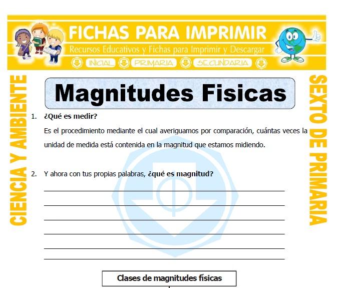 Ficha de Magnitudes Fisicas para Sexto de Primaria