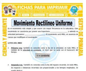 Movimiento Rectilineo Uniforme para Sexto de Primaria