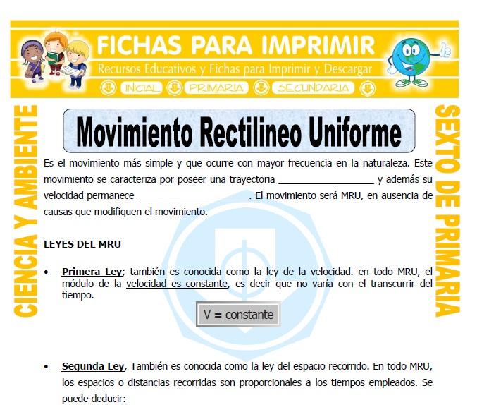 Ficha de Movimiento Rectilineo Uniforme para Sexto de Primaria