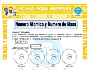Ficha de Numero Atomico y Numero de Masa para Sexto de Primaria