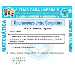 ficha de Operaciones entre Conjuntos para Cuarto de Primaria