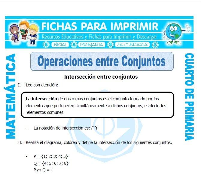 Operaciones entre Conjuntos Cuarto de Primaria - Fichas para Imprimir