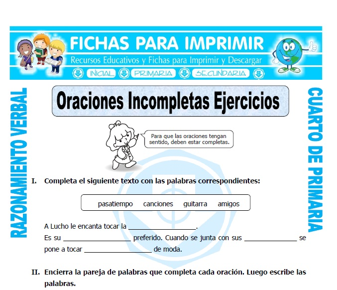 Oraciones Incompletas Ejercicios Cuarto Primaria - Fichas para Imprimir