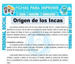 ficha de Origen de los Incas para Cuarto de Primaria