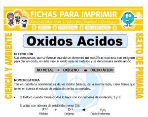 Ficha de Oxidos Acidos para Sexto de Primaria