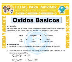 Ficha de Oxidos Basicos para Sexto de Primaria