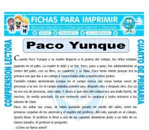 Ficha de Paco Yunque para Cuarto de Primaria