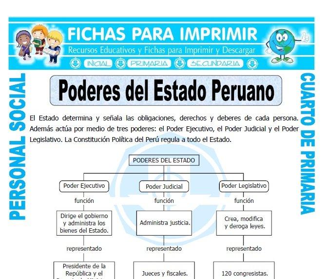 ficha de Poderes del Estado Peruano para Cuarto de Primaria