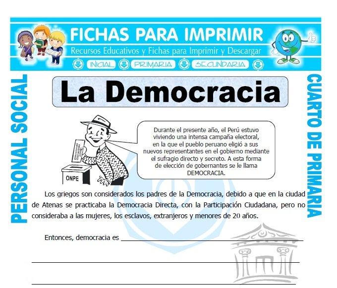 ficha de Que es Democracia para Cuarto de Primaria