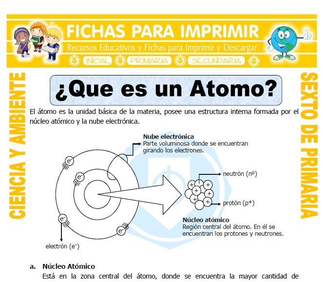 Ficha de Que es un Atomo para Sexto de Primaria