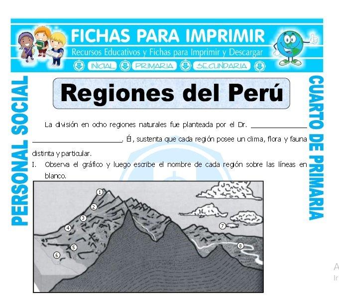 ficha de Regiones del Peru para Cuarto de Primaria