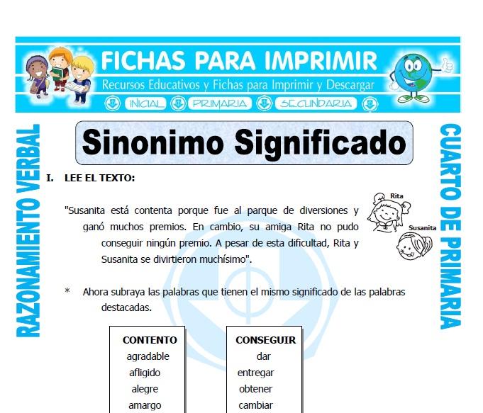 Sinonimo significado para cuarto de primaria fichas para for Significado de cuarto