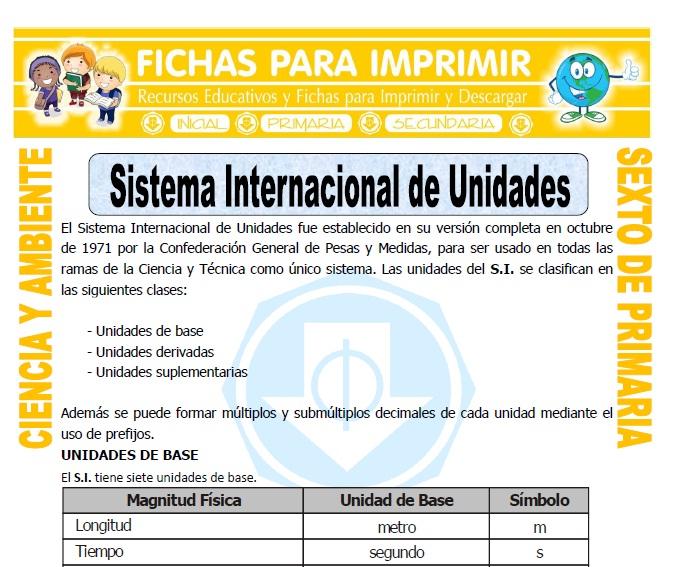 Ficha de Sistema Internacional de Unidades para Sexto de Primaria