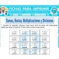 Sumas Restas Multiplicaciones y Divisiones para Cuarto de Primaria