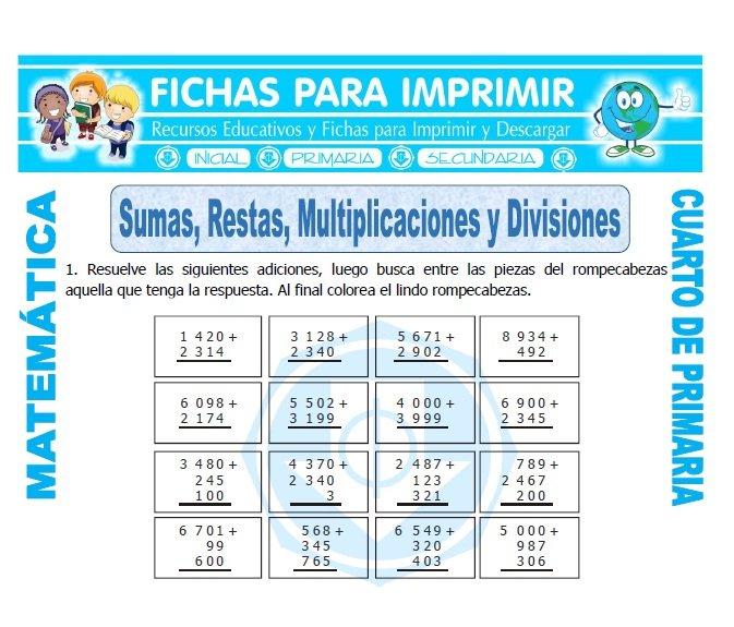Sumas restas multiplicaciones y divisiones para cuarto de for Cuarto grado de primaria