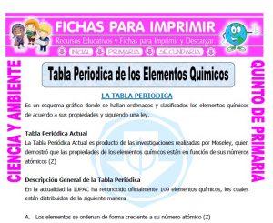 Ficha de Tabla Periodica de los Elementos Quimicos para Quinto de Primaria
