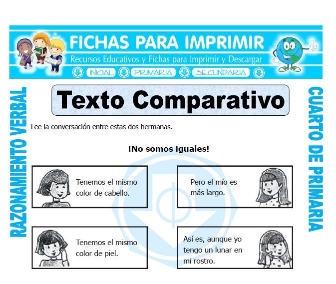 ficha de Texto Comparativo para Cuarto de Primaria