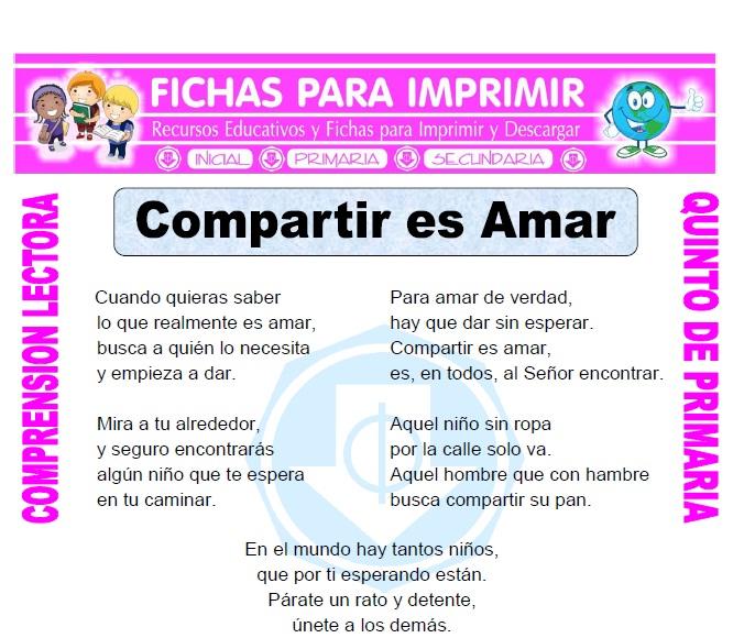 Ficha de Compartir es Amar para Quinto de Primaria