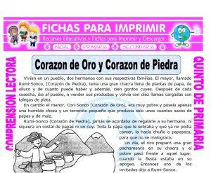 Ficha de Corazon de Oro y Corazon de Piedra para Quinto de Primaria