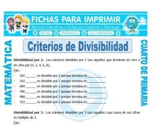 ficha de Cuales son los Criterios de Divisibilidad para Cuarto de Primaria