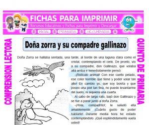 Ficha de Doña zorra y su compadre gallinazo para Quinto de Primaria