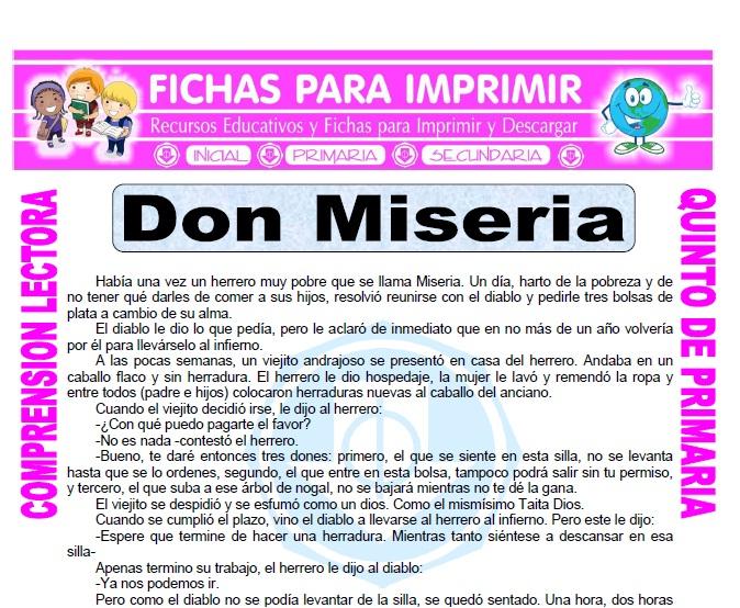 Ficha de Don Miseria para Quinto de Primaria