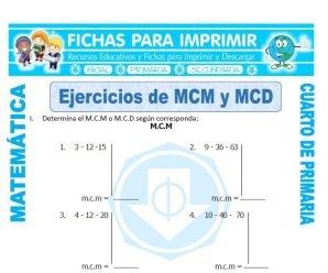 Ejercicios de MCM y MCD para Cuarto de Primaria