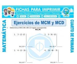 ficha de Ejercicios de MCM y MCD para Cuarto de Primaria