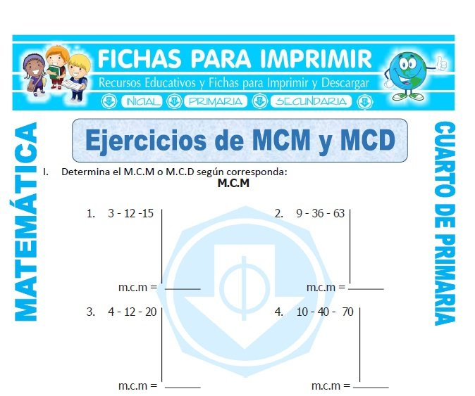 Ejercicios de MCM y MCD para Cuarto de Primaria - Fichas para Imprimir