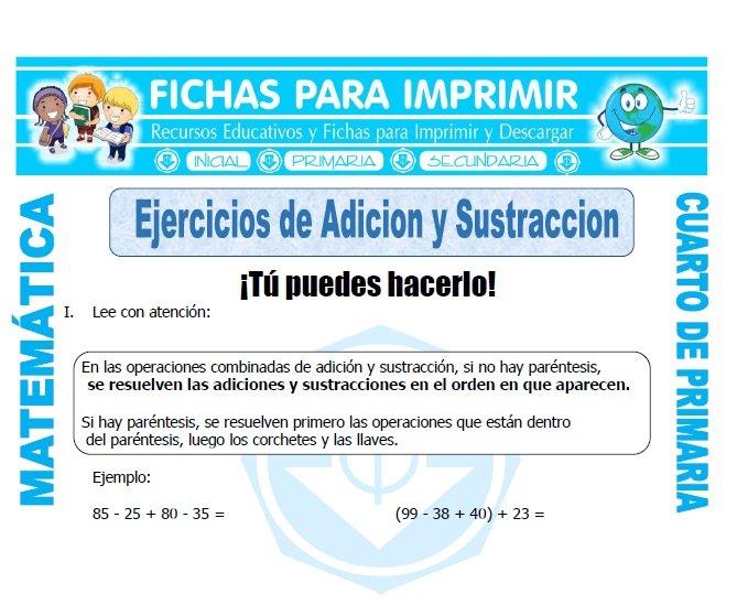 Ejercicios de Adicion y Sustraccion Cuarto Primaria - Fichas para ...