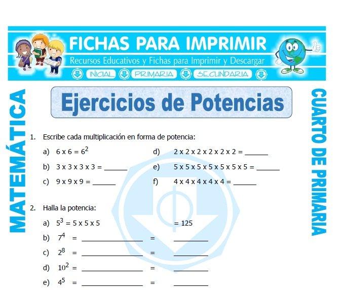 Ejercicios de potencias para cuarto de primaria fichas for Cuarto primaria