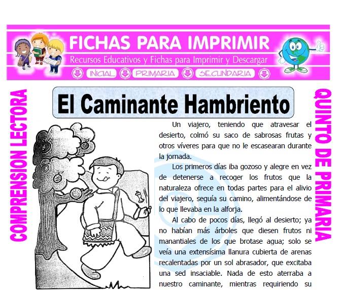 Ficha de El Caminante Hambriento para Quinto de Primaria