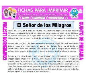 Ficha de El Señor de los Milagros para Quinto de Primaria