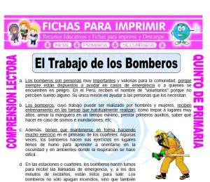 Ficha de El Trabajo de los Bomberos para Quinto de Primaria