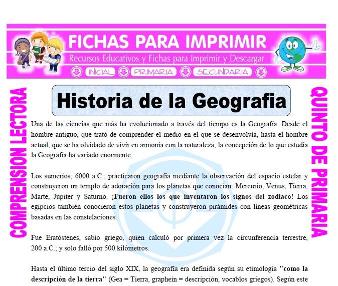 Ficha de Historia de la Geografia para Quinto de Primaria
