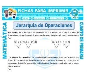 Jerarquia de Operaciones para Cuarto de Primaria
