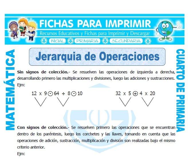 ficha de Jerarquia de Operaciones para Cuarto de Primaria