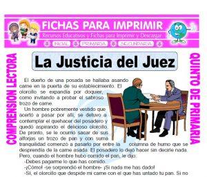 Ficha de La Justicia del Juez para Quinto de Primaria