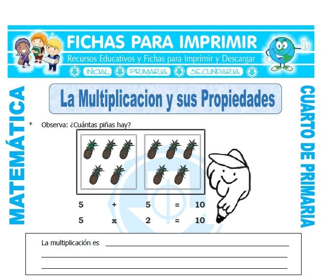 ficha de La Multiplicacion y sus Propiedades para Cuarto de Primaria
